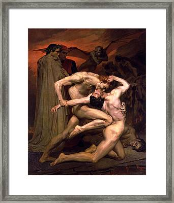 Dante And Virgil In Hell Framed Print by William Adolphe Bouguereau