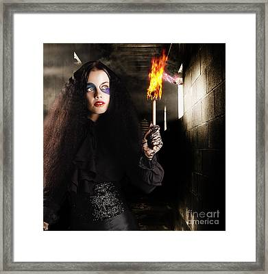 Dark Ages Jester Searching A Mysterious Castle Framed Print by Jorgo Photography - Wall Art Gallery
