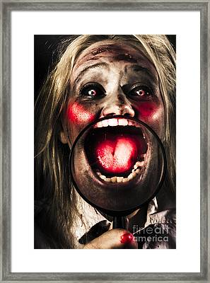 Dark And Scary Horror Face. Evil Laugh Framed Print by Jorgo Photography - Wall Art Gallery