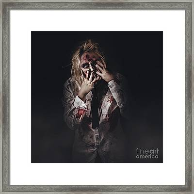 Dark Halloween Portrait. Scary Evil Zombie Framed Print by Jorgo Photography - Wall Art Gallery