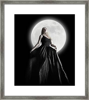 Dark Night Moon Girl With Black Dress Framed Print