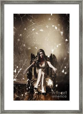 Dark Portrait Of A Demon Woman In Haunted House Framed Print