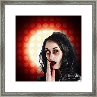Dark Portrait Of A Zombie Girl In Shock Horror Framed Print