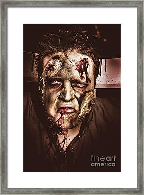 Dark Scary Halloween Zombie With Bloody Mouth Framed Print by Jorgo Photography - Wall Art Gallery