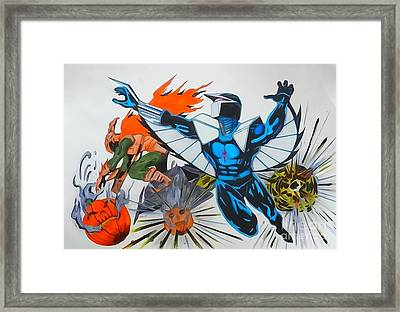 Darkhawk Vs Hobgoblin Framed Print by Justin Moore