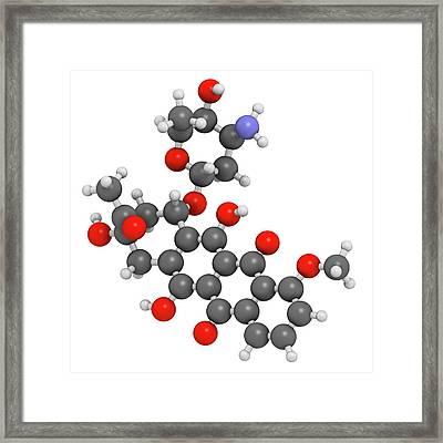 Daunorubicin Cancer Drug Molecule Framed Print by Molekuul