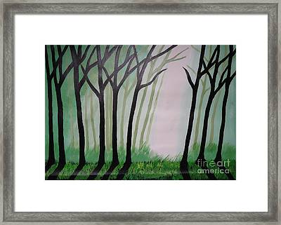Day Light In Dark Forest Framed Print by Jnana Finearts