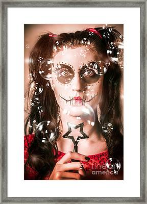 Day Of The Dead Girl Blowing Party Bubbles Framed Print by Jorgo Photography - Wall Art Gallery