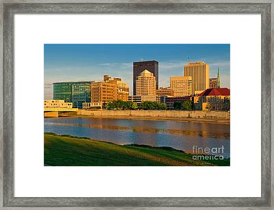 D4u-379 Dayton Skyline Photo Framed Print