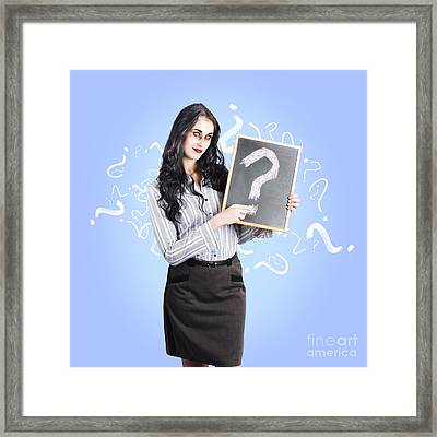 Dead Business Person With Question Mark Chalkboard Framed Print by Jorgo Photography - Wall Art Gallery