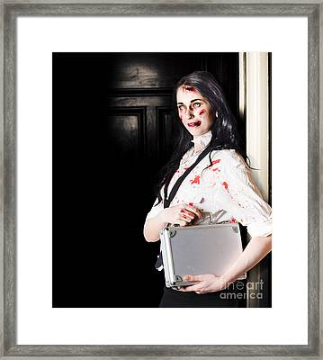 Dead Female Zombie Worker Holding Briefcase Framed Print by Jorgo Photography - Wall Art Gallery