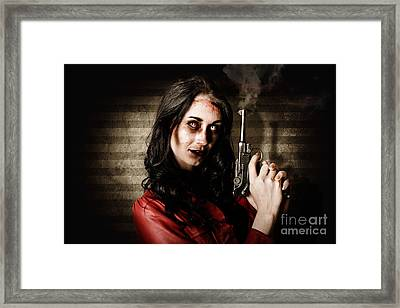 Dead Private Eye Detective Holding Smoking Gun Framed Print by Jorgo Photography - Wall Art Gallery
