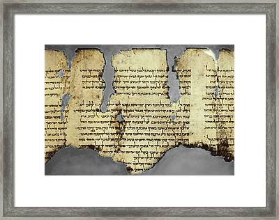 Dead Sea Scroll Fragment, 1st Century Ad Framed Print by Science Photo Library