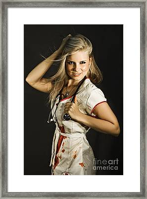 Dead Sexy Nurse Framed Print by Jorgo Photography - Wall Art Gallery