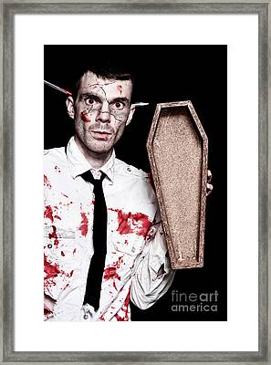 Dead Zombie Business Man Holding Funeral Coffin Framed Print