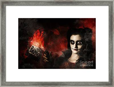 Deadly Sugarskull Girl Firing Pop Gun With Bang Framed Print by Jorgo Photography - Wall Art Gallery