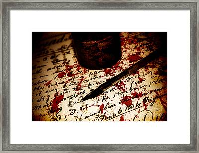 Death Certificate Signed In Blood Framed Print by Jorgo Photography - Wall Art Gallery