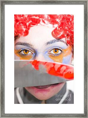 Death Stare Clown Framed Print by Jorgo Photography - Wall Art Gallery