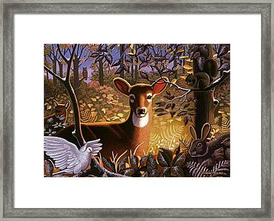 Deer In The Forest Framed Print by Robin Moline
