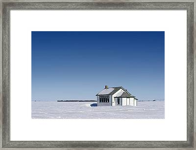 Defunct Country School Building In Winter Framed Print by Donald  Erickson