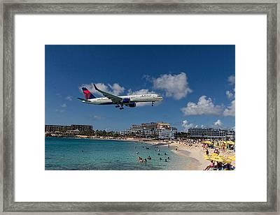 Delta Air Lines Landing At St Maarten Framed Print