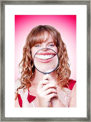 Dentist Showing White Teeth In A Dental Checkup Framed Print