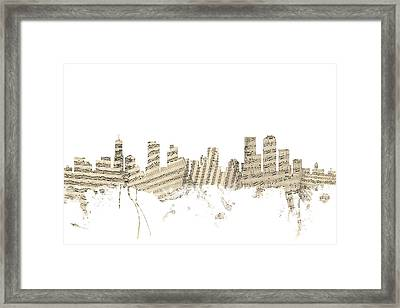 Denver Colorado Skyline Sheet Music Cityscape Framed Print