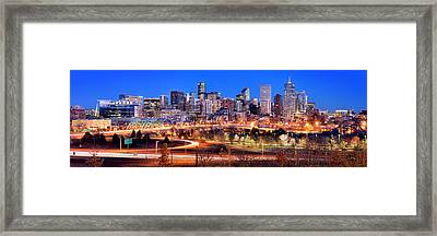 Framed Print featuring the photograph Denver Skyline At Dusk Evening Color Evening Panorama Broncos Colorado  by Jon Holiday
