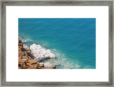 Deposit Of Salt And Gypsum By The Cliff Framed Print by Keren Su