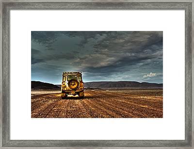 Land Rover Defender On Dirt Road Dusk Framed Print
