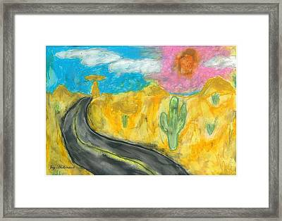 Framed Print featuring the pastel Desert Road by Artists With Autism Inc