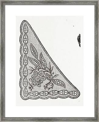 Design For Collarette, Needlework, 19th Century Embroidery Framed Print