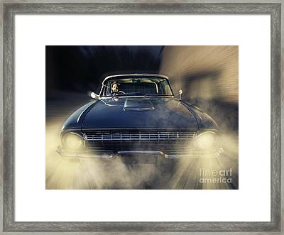 Detective Man Driving Old Classic Car At Pace Framed Print by Jorgo Photography - Wall Art Gallery