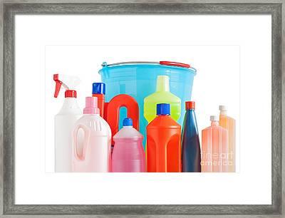 Detergent Bottles And Bucket Framed Print by Antonio Scarpi