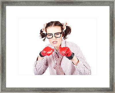 Determined Young Woman In Boxing Gloves Framed Print