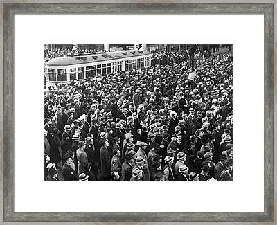 Detroit Auto Strike Protest Framed Print by Underwood Archives