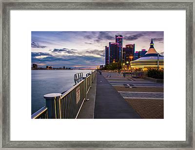 Detroit River Walk Framed Print