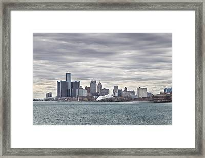 Detroit Skyline From Belle Isle Framed Print by John McGraw