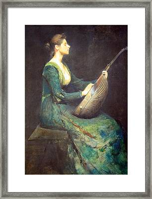 Dewing's Lady With A Lute Framed Print by Cora Wandel