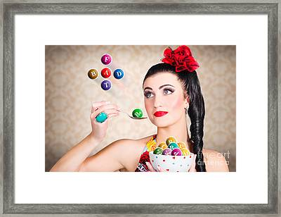 Diet And Nutrition Woman Watching Fat Intake Framed Print by Jorgo Photography - Wall Art Gallery