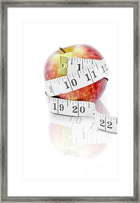 Diet And Weight Loss Concept On White Background Framed Print