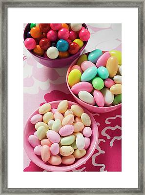 Different Kinds Of Sweets And Bubble Gum Balls In Bowls Framed Print