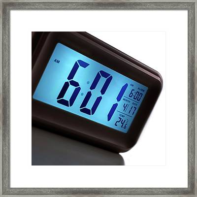 Digital Alarm Clock Framed Print by Science Photo Library
