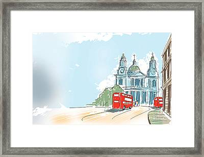 Digital Illustration St Paul Cathedral London Uk Framed Print