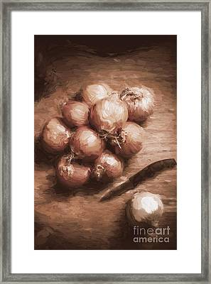 Digital Painting Of Brown Onions On Kitchen Table Framed Print by Jorgo Photography - Wall Art Gallery