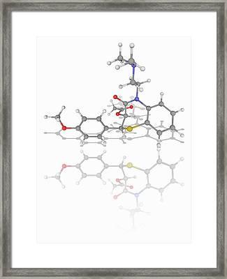 Diltiazem Drug Molecule Framed Print by Laguna Design/science Photo Library