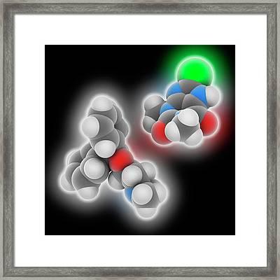 Dimenhydrinate Drug Molecule Framed Print by Laguna Design