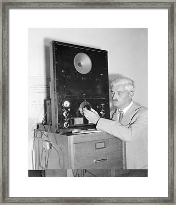 Diplomat Listens To Radio Broadcast, Framed Print by Science Photo Library