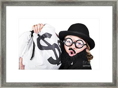 Disguised Woman Holding Moneybag Framed Print by Jorgo Photography - Wall Art Gallery
