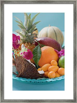 Dish Of Exotic Fruit And Coconut Framed Print